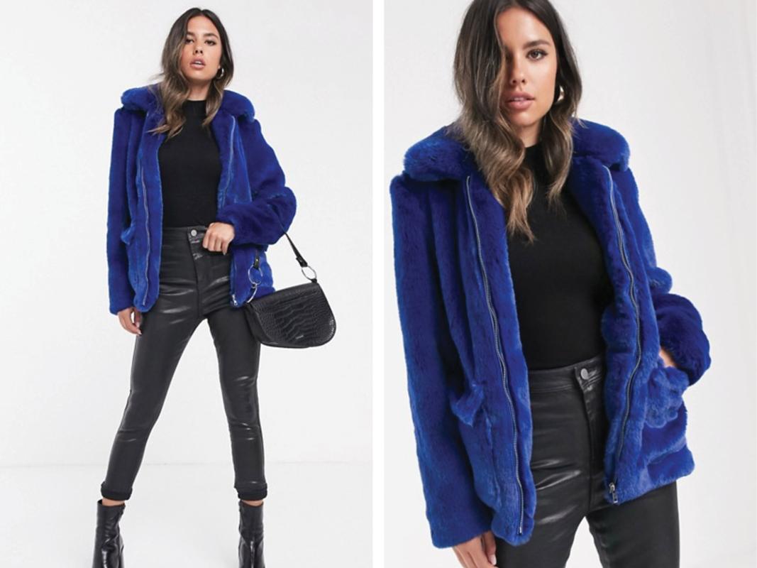 Abrigo azul cobalto de pelo sintético de Barney's Originals