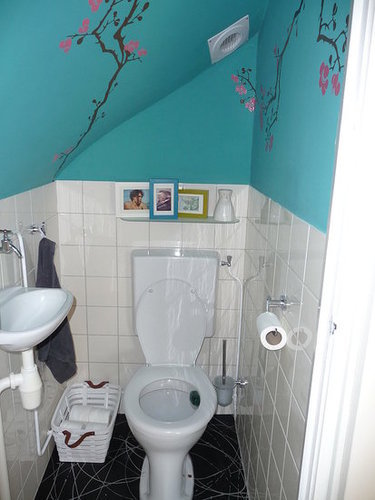 Antes y despu s darle color a un ba o - Banos con paredes pintadas ...