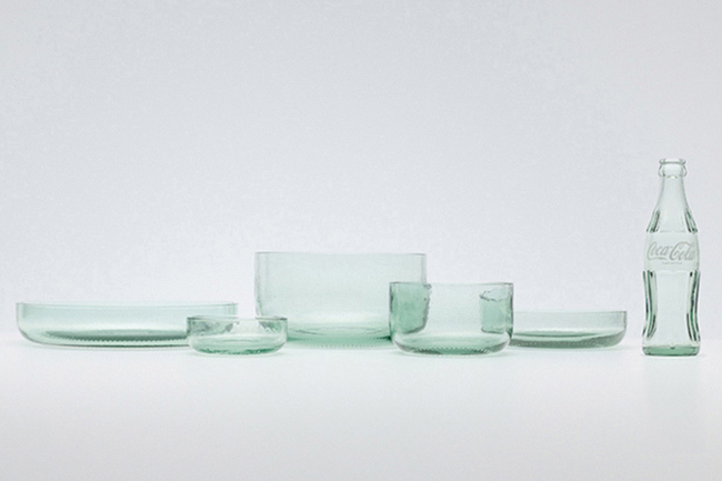 Bottleware, preciosas fuentes de diseño con botellas recicladas de Coca-Cola