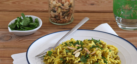 Lentejas con arroz basmati especiado: receta saludable vegana