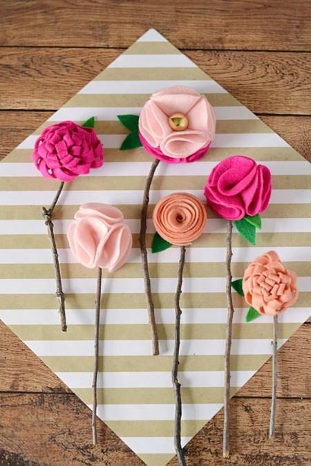 Manualidades Dia Madre Flores Carton Fieltro