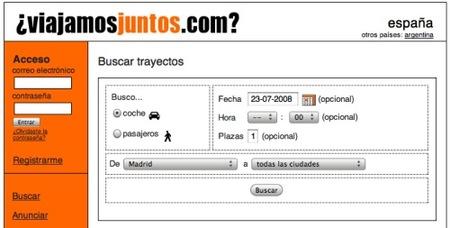 Viajamosjuntos, buscador para compartir coche