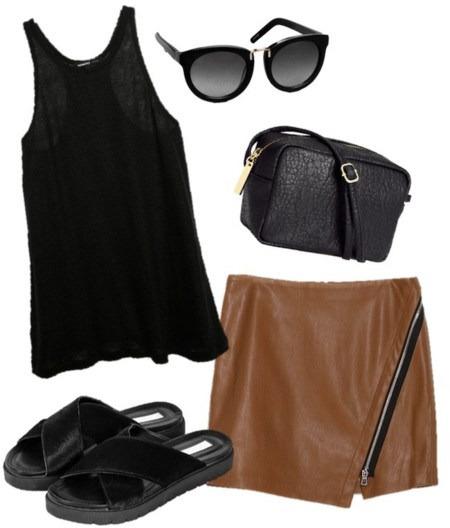 outfit caramelo negro