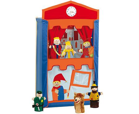 Teatro De Titeres De Madera Maciza Con 6 Marionetas