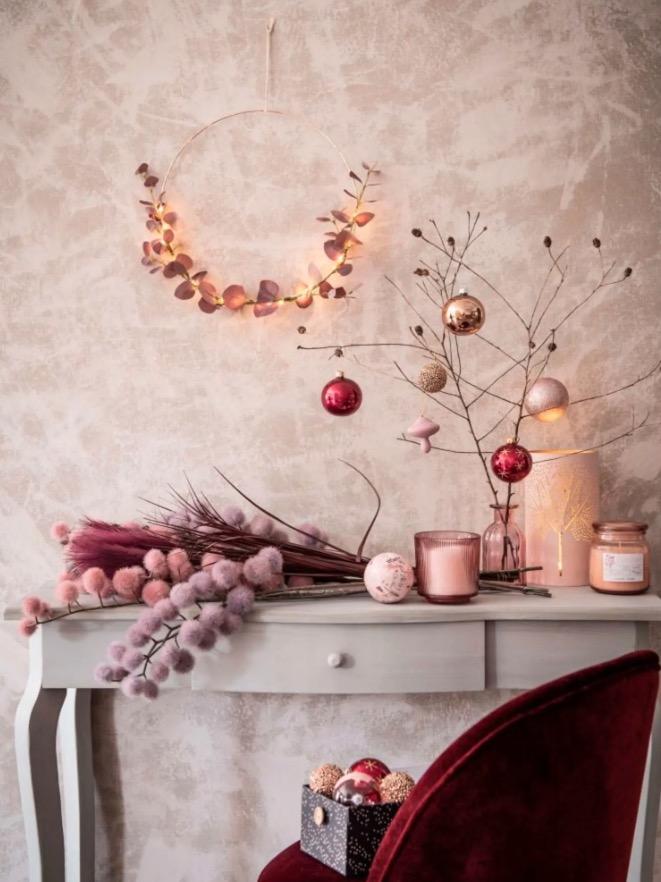 Bola de Navidad de cristal tintado cobrizo brillante - Lote de 12 piezas -