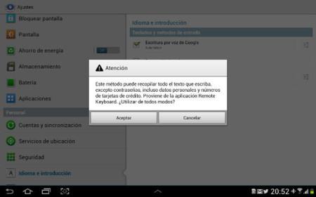 Remote Keyboard, seleccionando el método de entrada