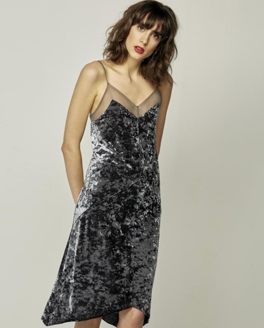 Vestido de mujer Starlite de terciopelo en gris