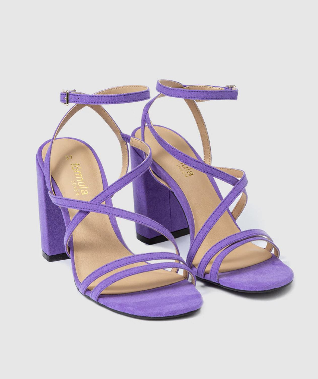 Sandalias de tacón de mujer Fórmula Joven con tiras de color morado