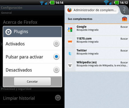 Gestión de complementos en Firefox 14 para Android