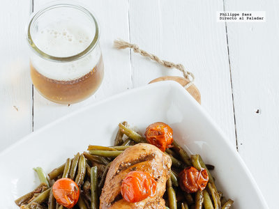 Pollo en reducción de balsámico y verduras: receta