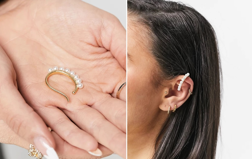 Earcuff dorado con perlas en fila
