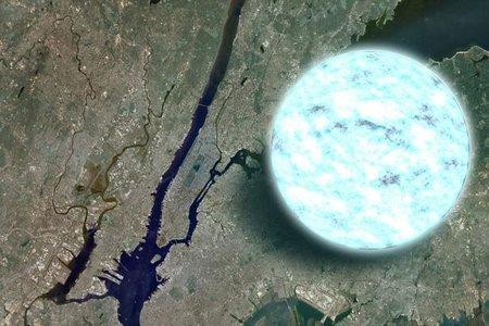 Comparando una estrella de neutrones con Manhattan