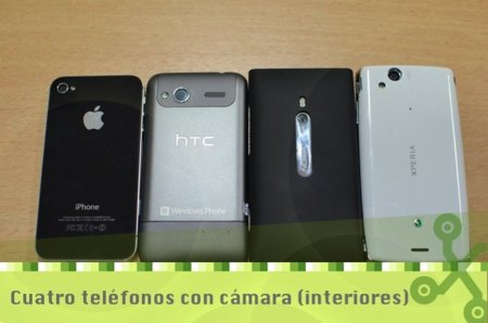 Cuatro cámaras de móviles frente a frente (interiores)