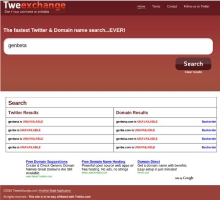 Tweexchange, encuentra un nombre disponible para tu dominio y twitter