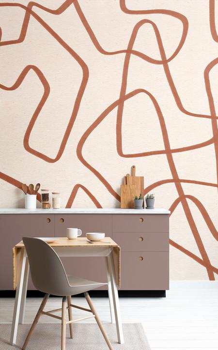 Red Clay Papel Pintado Abstracto Lineas De Garabatos Color Arcilla Y Beige Lifestyle