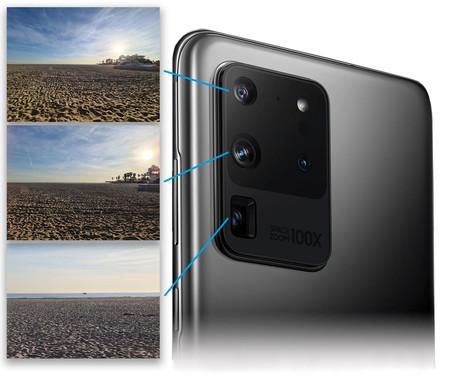 Samsung Galaxy S20 Ultra Esquema cámaras con ejemplos