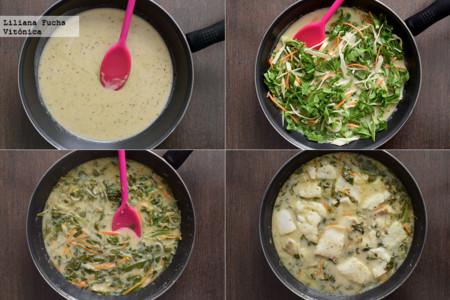 Curry verde de bacalao y verduras. Pasos