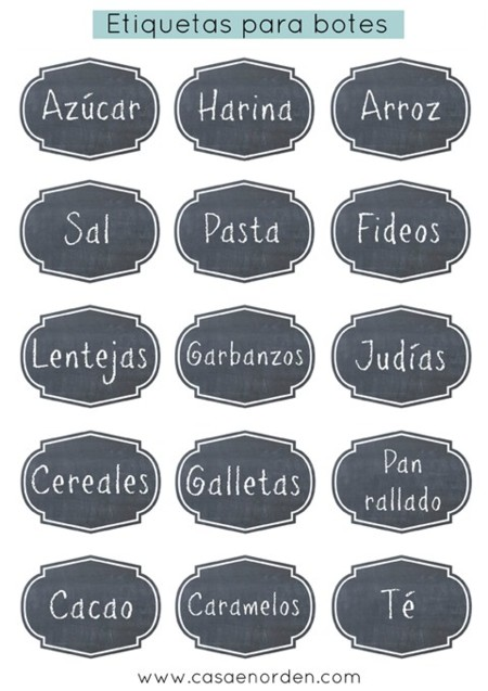 15 diseños de etiquetas imprimibles para tener todo siempre ordenado