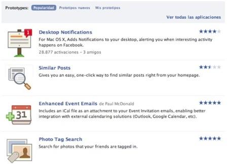 Facebook Prototypes toma ejemplo de los Gmail Labs