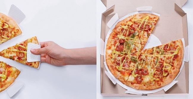 Porción de pizza con su plato incorporado