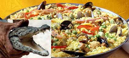 Paella con carne de cocodrilo