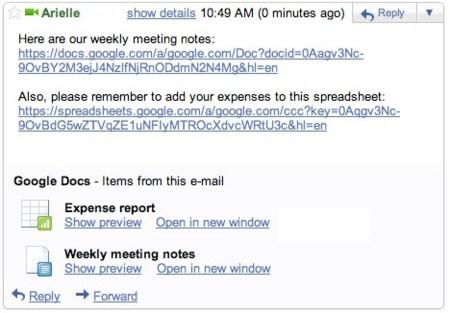 Previsualizaciones de Google Docs en Gmail