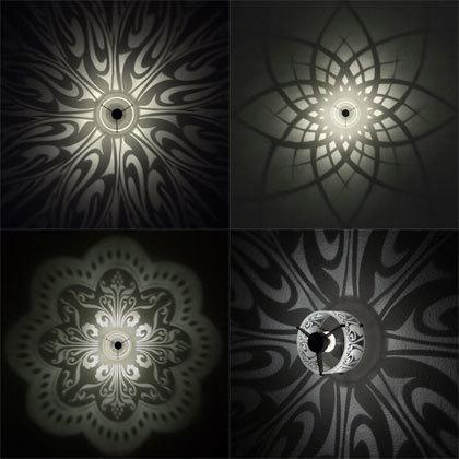 Lámparas con patrones geométricos