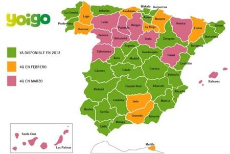 Mapa cobertura 4G yoigo febrero y marzo de 2014