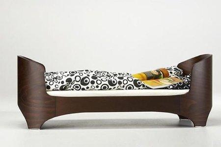 cama minimalista dormitorio infantil marron