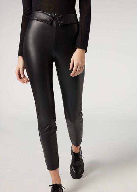 Modp0972 Wear 019 FiLeggings con efecto piel y detalle en la cintura