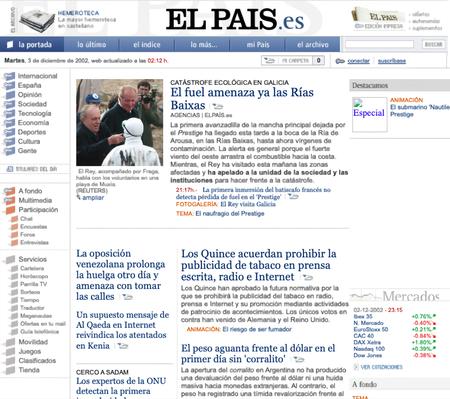 Una de las primeras portadas de la web de El País tras instalar el muro de pago, en la época del desastre del Prestige.