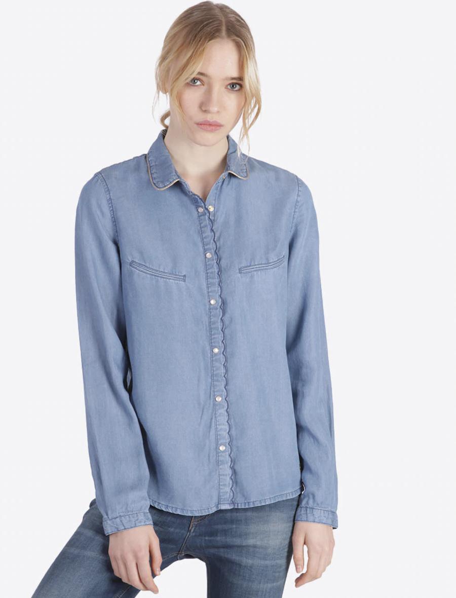 Camisa de mujer de efecto vaquero de manga larga