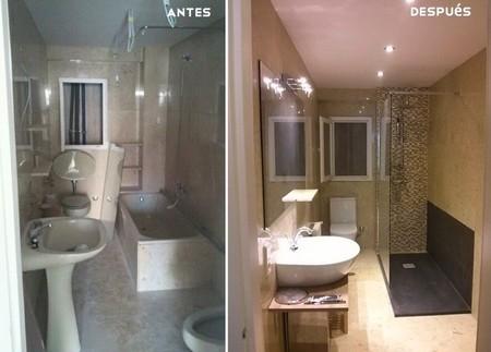 Antes y despu s dos maneras diferentes de renovar un cuarto de ba o - Pintar azulejos de bano antes y despues ...