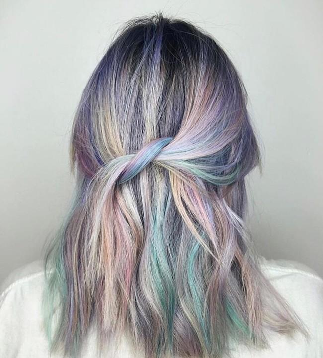 pelo gris multicolor arcoiris tendencia