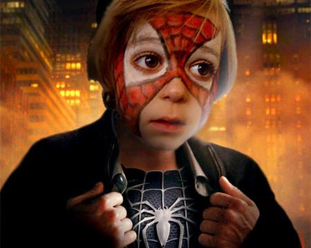 Maquillaje de cara de Spider-man