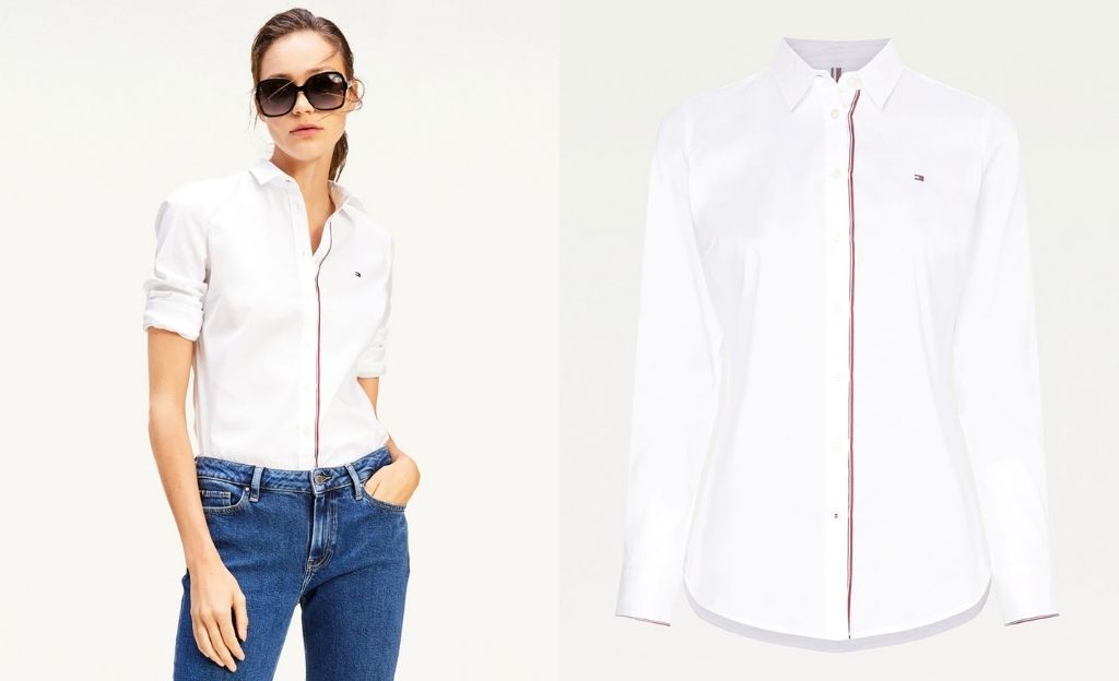 Camisa entallada de mujer de algodón con manga larga
