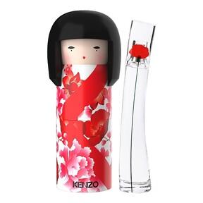 Estas navidades el mítico perfume Flower by Kenzo se presenta en el interior de una preciosa muñeca Kokeshi