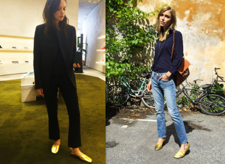 zapatos dorados celine