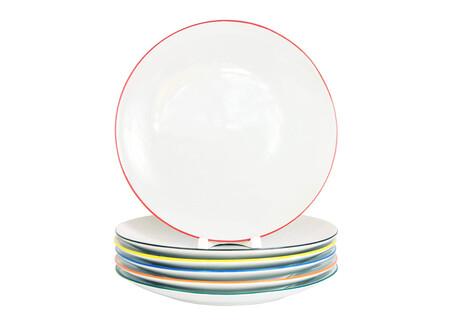 Juego De 6 Platos Llanos De Porcelana Con Borde De Color