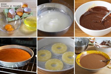 Tarta de chocolate y piña - elaboración