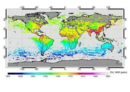 Evolución del volumen de metano en la atmósfera en partes por mil millones