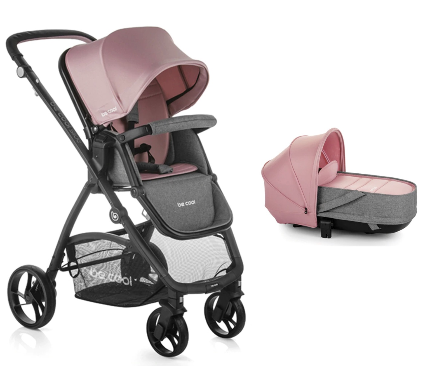 BE COOL  Coche de paseo dúo Be Cool Slide con Capazo blando Crib Be Solid Be Pink rosa/gris