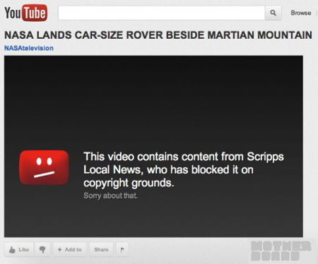 El vídeo oficial de la NASA sobre el aterrizaje del Curiosity bloqueado por violación de derechos de autor