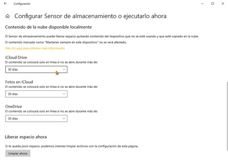 Storage Sensor Windows 10 Cloud Content