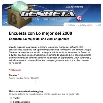 Última oportunidad para rellenar la encuesta con lo mejor de 2008