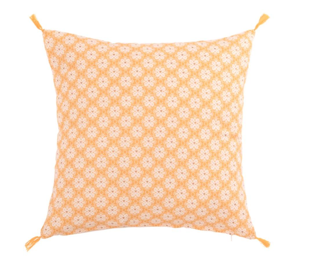 Funda de cojín Comano de algodón amarillo con motivos gráficos 40x40