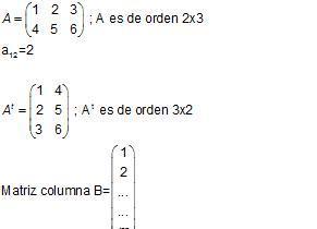 Definición y algunos tipos de matrices