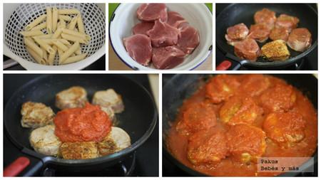 Solomillo Cerdo Con Tomate Pasta Pasos