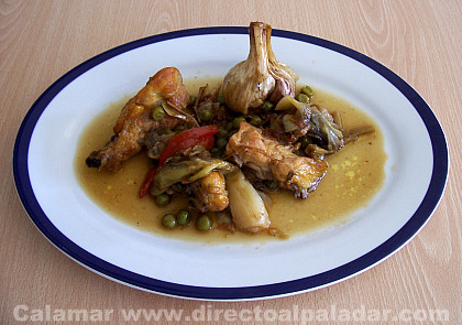 Pollo rustido con hortalizas. Receta
