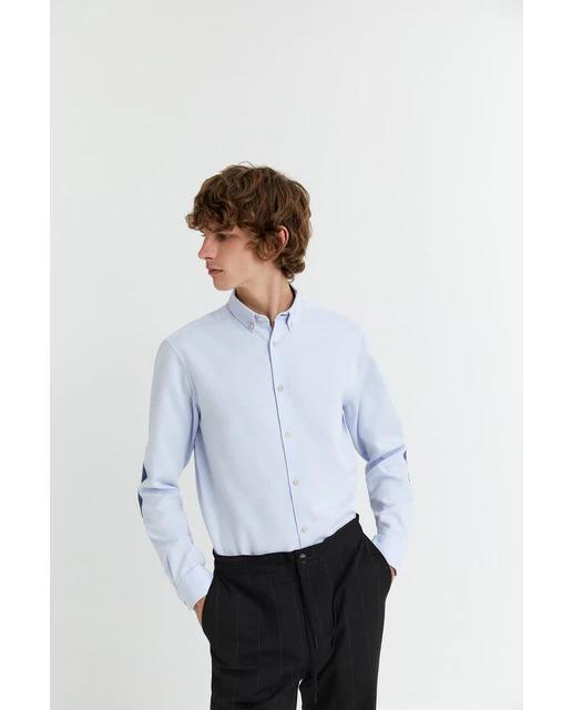 Camisa de hombre slim lisa azul claro
